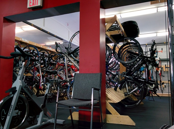 All the nice bikes in storage at AETT
