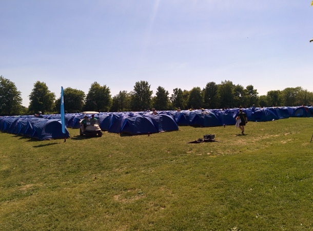 Blue tents for everyone staying the night