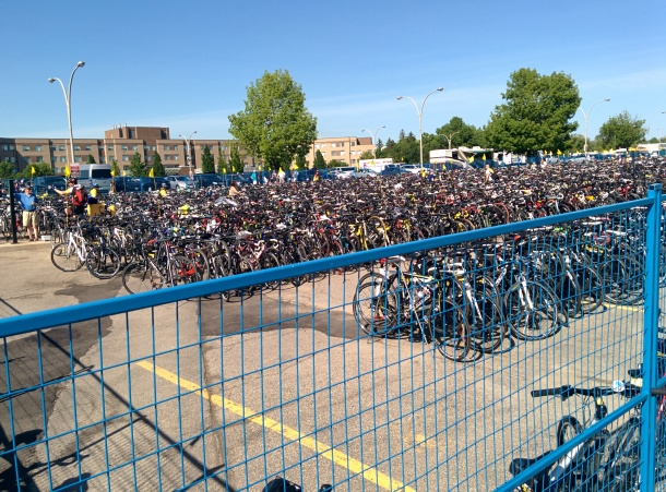 Bike parking at the end of Day 1