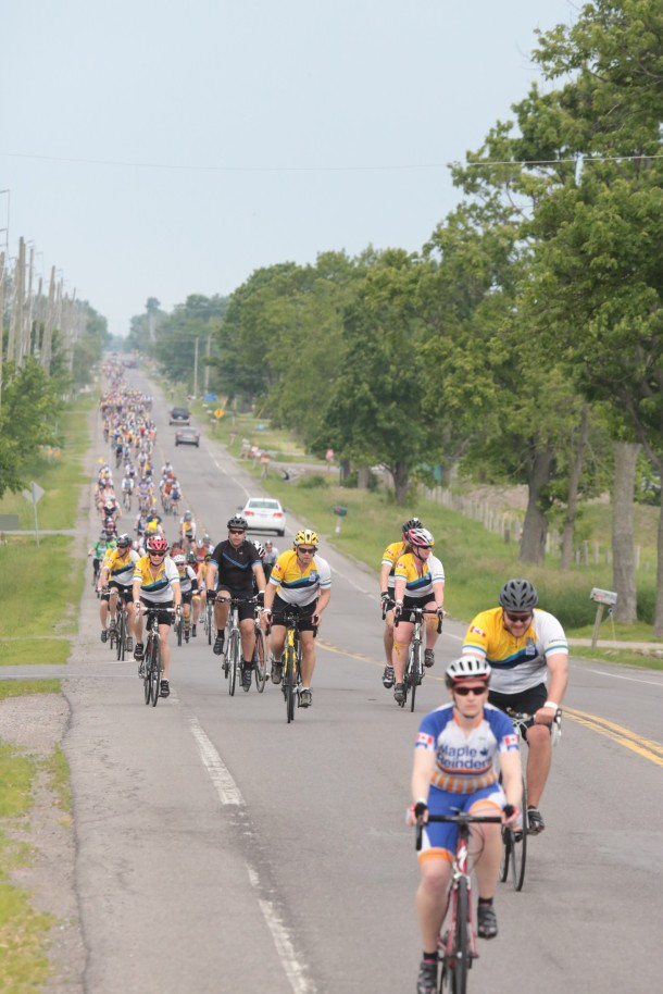 Lots of people have asked me if roads were closed off for riders. Only a portion of the road was completely closed at the beginning of Day 1. For the majority of Day 1 and all of Day 2, roads were not closed off. But there would always be a steady stream of enough people to occupy one lane on the road. Drivers were very respectable and we also had police officers helping out at intersections helping to control traffic.